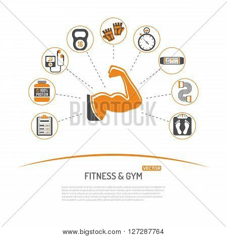 Fitness, Gym, Healthy Lifestyle Concept for Mobile Applications, Web Site, Advertising with Biceps, Protein and Scales Icons.
