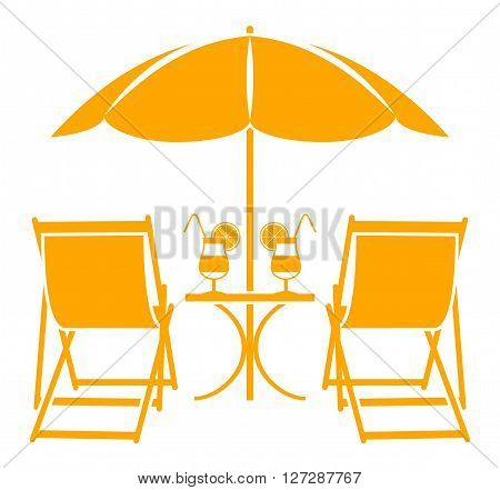 vector beach umbrella, deck chairs and summer cocktails isolated on white background