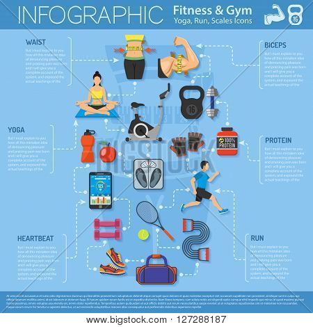 Fitness, Gym, Cardio, Yoga, Healthy Lifestyle Infographics for Mobile Applications, Web Site, Advertising with Exercise Bike, Dambbells and Gadgets.