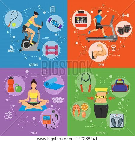 Fitness, Gym, Cardio, Yoga, Healthy Lifestyle Banners for Mobile Applications, Web Site, Advertising with Exercise Bike, Treadmill and Gadgets.