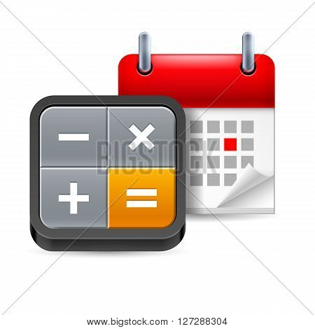 Calculator and calendar with marked day on white background