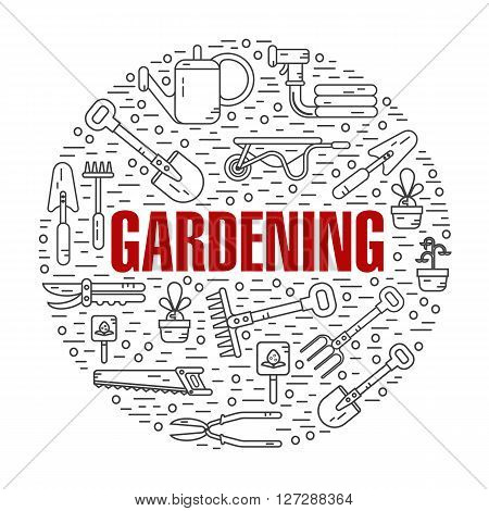 Vector modern line style color illustration of garden work tools. Secateurs, watering can, shovel, rake, garden cart, garden hose, fork, saw. Gardening and agriculture round shape icons concept.