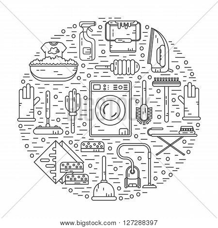 Vector modern line style icons concept of housekeeping or household cleaning. Vacuum cleaner, washing machine, gloves, brush, brush, bucket, broom, iron, wiper, sponges. Round shape illustration.