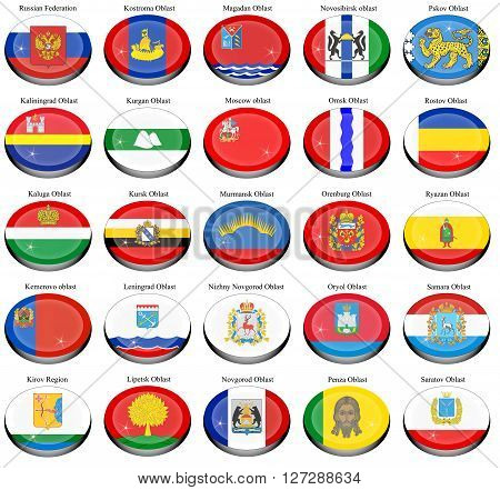 Set of icons. Federal subjects of the Russian Federation flags.