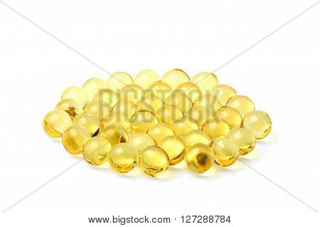 Fish oil in the granules isolated on a white background.