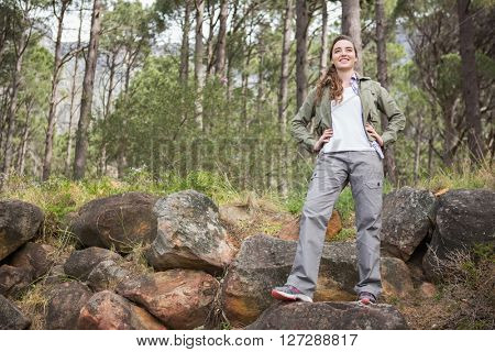 Woman standing with hands on hips in the forest