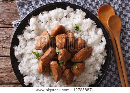 Philippine Cuisine: Adobo With Rice Close-up. Horizontal Top View