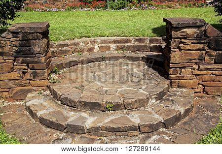Stone Wall And Paved Pattern And Textured Walkway