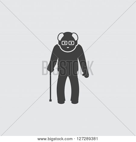 Old man with cane icon illustration isolated vector sign symbol