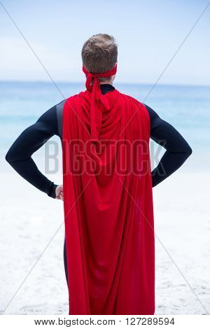 Rear view of superhero costume standing at sea shore against sky