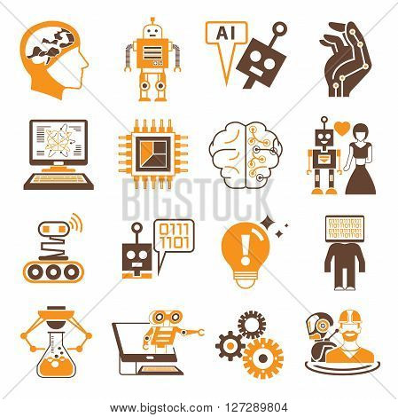 collection of robot icons, artificial intelligence icons in orange color theme