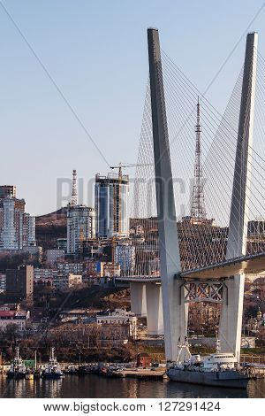 cable-stayed bridge in Vladivostok in the morning