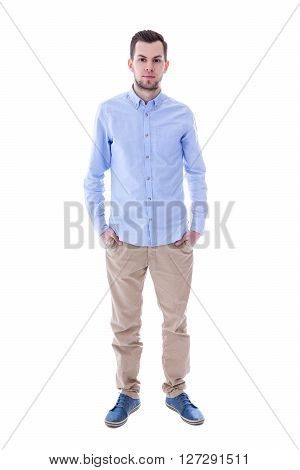 Full Length Portrait Of Young Man Isolated On White