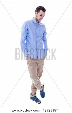 Full Length Portrait Of Young Man Thinking About Something Isolated On White