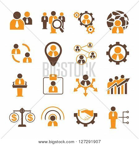 collection of people management and human resource icons in orange color theme