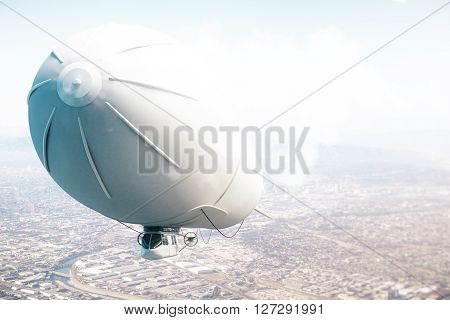 Airship Above City