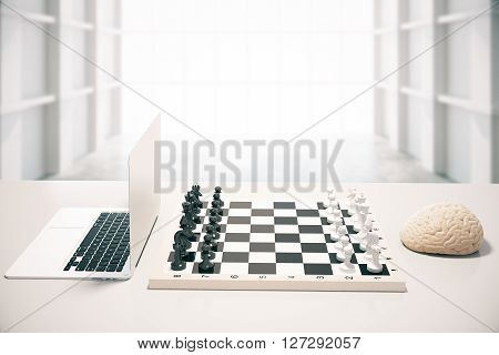Computer vs human brain concept with two of the previously mentioned playing chess in white room. 3D Rendering