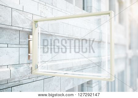 Transparent glass stopper on concrete brick building. Mock up 3D Rendering