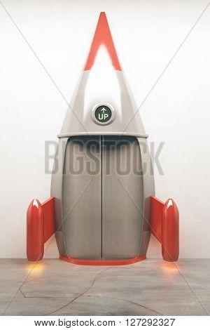 Success concept with closed door of rocket elevator going up. 3D Render