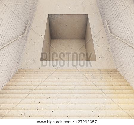 Stairway leading to pit. 3D Rendering. Close up