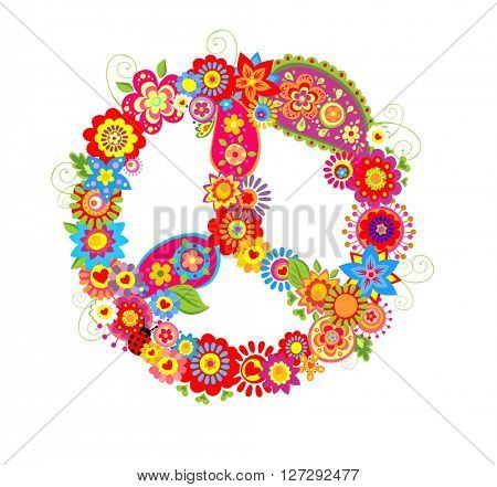 Peace flower symbol with poppies and paisley