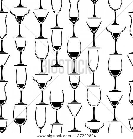Seamless pattern with different glasses for wine. Black and white. For your desing,restaurant and cafe menu.