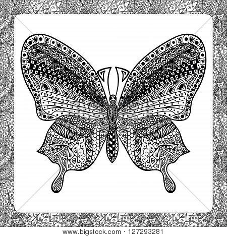 Coloring Page of Black Butterfly with Hand Drawn Patterns, Zentangle Vector Illustartion, Decorative Tribal Totem Insect for Adult Coloring Books or Tattoos, Isolated on Background. Monochrome Sketch.