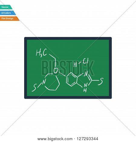 Flat Design Icon Of Chemistry Formula On Classroom Blackboard