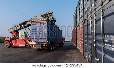 Forklift Handling The Containers Box