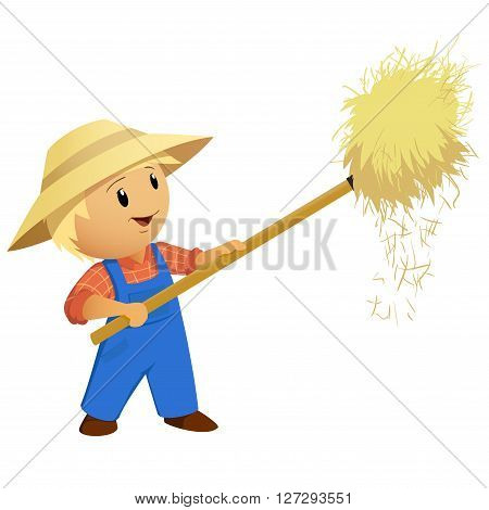 Cartoon Farmer hay in hat with pitchfork. Vector Illustration.