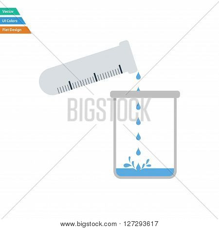 Flat Design Icon Of Chemistry Beaker Pour Liquid In Flask