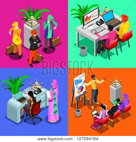 Indian Business Infographic. Businessman Web Conference Agenda Management Meeting Planning and Woman Employee.Flat 3D Isometric People Set. Isolated Elements Vector Image.