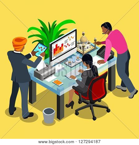 Indian Business Infographic. Businessman Engineer Data Analysis Business Planning and Woman Employee.Flat 3D Isometric People Set. Isolated Elements Vector Image.