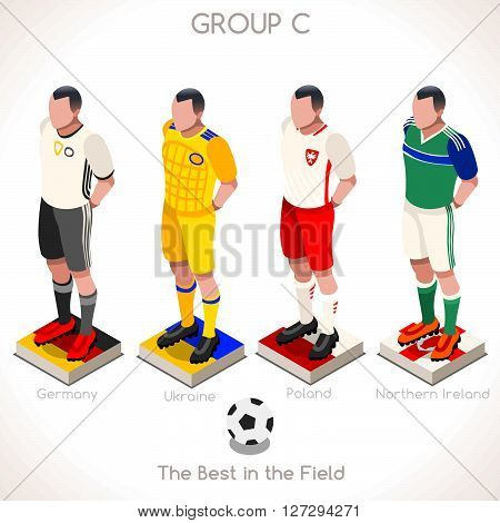 France EURO 2016 Championship Infographic Qualified Soccer Players GROUP C. Football Game Jersey flags of final participating countries. 3D Flat Isometric People Icon. JPG. JPEG. Picture. Image. Graphic. Art. Illustration. Drawing. Object. Vector. EPS. AI