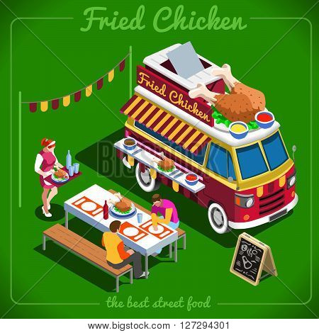 Fried Chicken Wings Food Truck Delivery Master. Street Food Chef Web Template. 3D Flat Isometric Vehicles Food Truck Infographic Elements Isolated Icon. JPG. JPEG. Picture. Image. Graphic. Art. Illustration. Drawing. Object. Vector. EPS. AI.