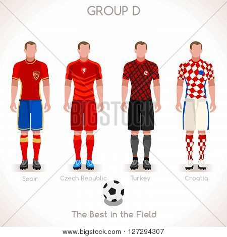 France EURO 2016 Championship Infographic Qualified Soccer Players GROUP D. Football Game Jersey flags of final participating countries. Flat People Icon. JPG. JPEG. Picture. Image. Graphic. Art. Illustration. Drawing. Object. Vector. EPS. AI.