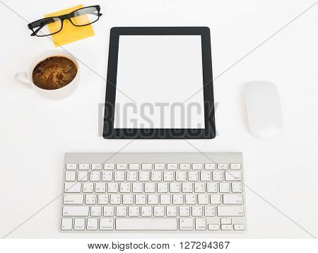 Digital Tablet Touch Pad Computer With Keyboard, Mouse And Coffee