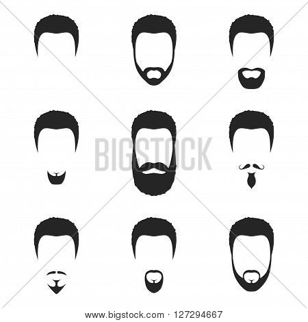 Hairstyles beard and hair face cut mask in flat style. Hairstyles beard icon isolated on white background. Vector Illustration