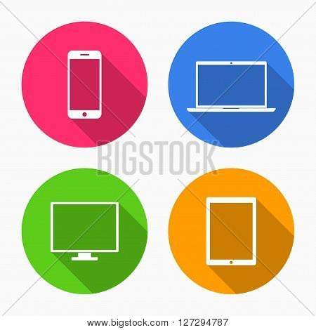 Device Icons: smartphone, tablet, laptop and desktop computer. Colorful device icons in flat style with shadow isolated on white background. Vector Illustration