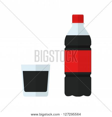 Soda bottle icon and glass. Drink in flat style isolated on white background. Soda vector illustration
