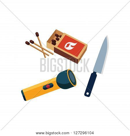Matches, Lamp And Knife Cartoon Simple Style Colorful Isolated Flat Vector Illustration On White Background
