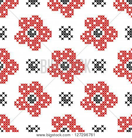 Seamless isolated texture with abstract red flowers with buds for tablecloth. Embroidery. Cross stitch.