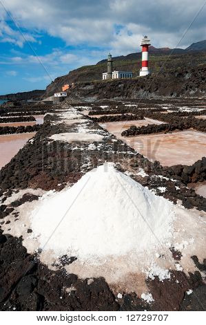 Salt Evaporation Ponds And Lighthouses, Punto De Fuencaliente, La Palma
