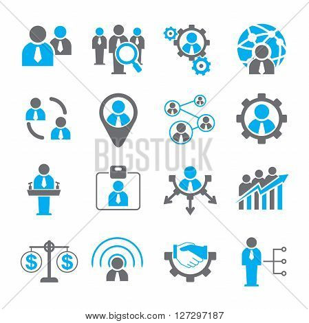 set of 16 human resources management icons