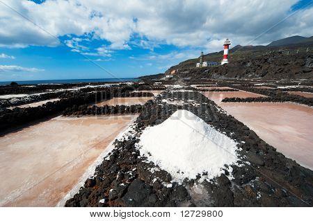 Salt Evaporation Ponds And Lighthouses, Punto De Fuencaliente, La Palma