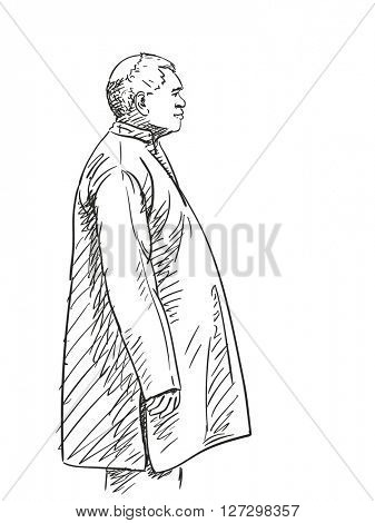 Sketch of man with big belly, View from side isolated, Hand drawn illustration