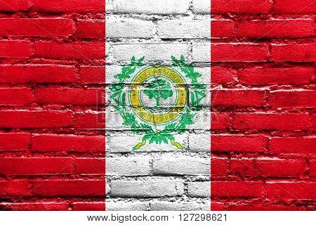 Flag Of Raleigh, North Carolina, Painted On Brick Wall