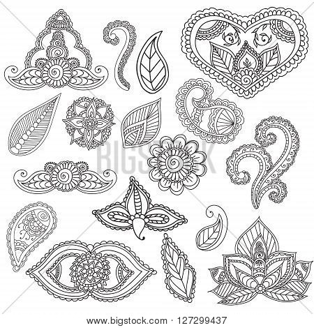 Coloring pages for adults. Cet fo Henna Mehndi Doodles Abstract Floral Paisley Design Elements, Mandala, Vector Illustration. Coloring book. Coloring pages for adults.