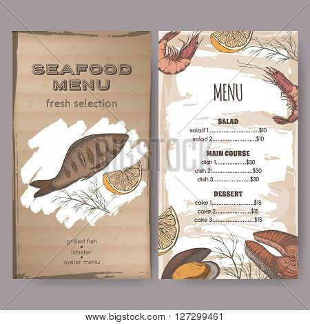 Color vintage seafood restaurant menu template with hand drawn sketch of grilled fish, fish steak, shrimp and mytilus. Placed on cardboard background