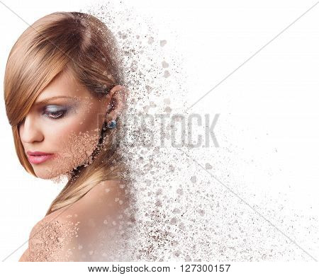Beautiful woman face crushed isolated on white background.